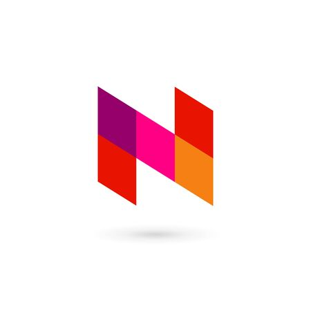 n: Letter N mosaic icon design template elements