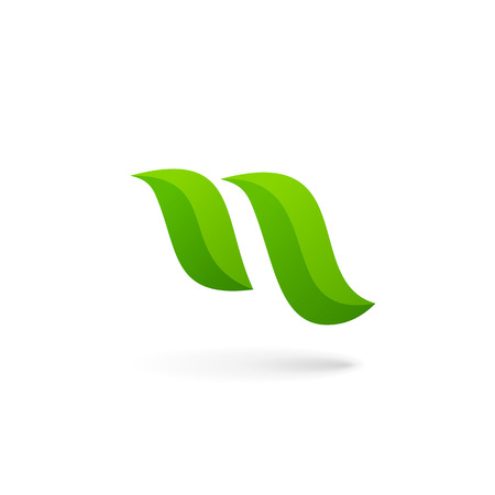 n: Letter N eco leaves icon design template elements