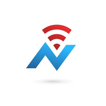 letter n: Letter N wireless icon design template elements Illustration