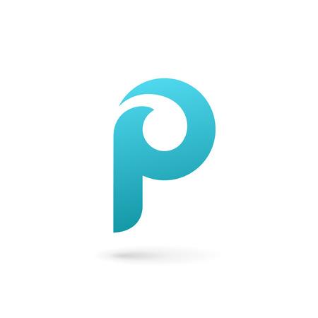 편지 P 로고 아이콘 디자인 템플릿 요소