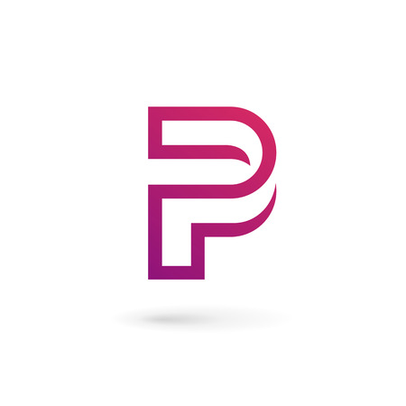 P の文字ロゴ アイコンのデザイン テンプレート要素