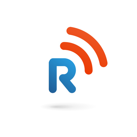 R: Letter R wireless logo icon design template elements Illustration