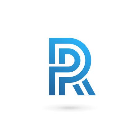 편지 R 로고 아이콘 디자인 템플릿 요소