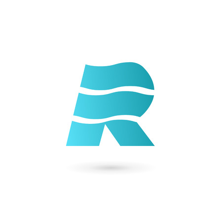 Letter R marine flag logo icon design template elements Illustration