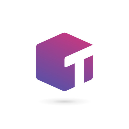 Letter T cube logo icon design template elements Ilustracja