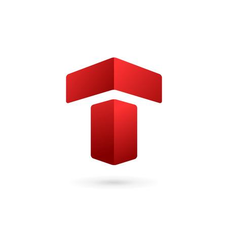 편지 T 로고 아이콘 디자인 서식 파일 요소 일러스트