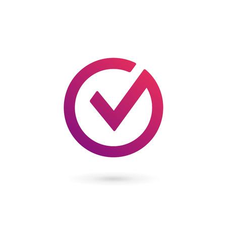 V の文字チェック マークのロゴ アイコン デザイン テンプレート要素  イラスト・ベクター素材