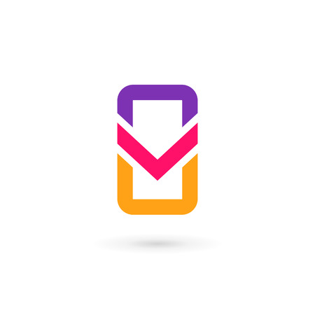 cellular phone: Mobile phone app letter V logo icon design template elements Illustration