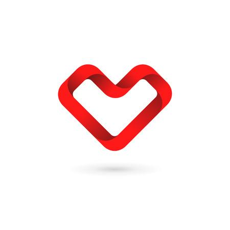 heart symbol: Letter V heart logo icon design template elements Illustration