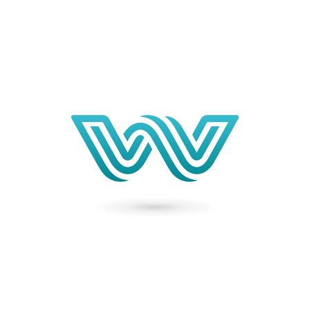 手紙 W アイコン デザイン テンプレート要素
