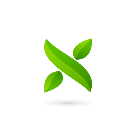 Letter X eco leaves logo icon design template elements