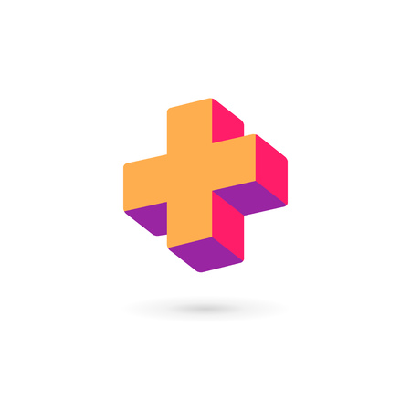 Cross plus medical logo icon design template elements