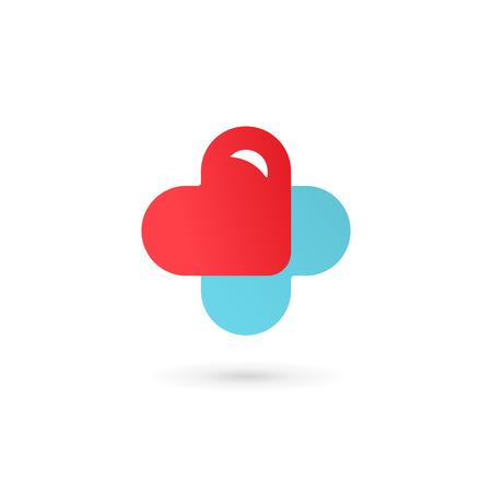 Traversez logo médicale éléments de modèle de conception icône cardiaques, plus Banque d'images - 44611593