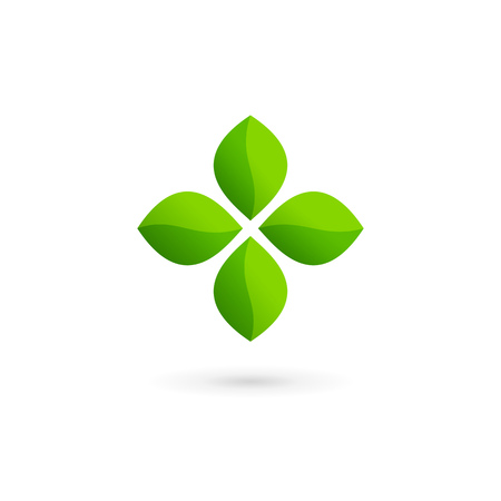Cross plus eco leaves medical   icon design template elements