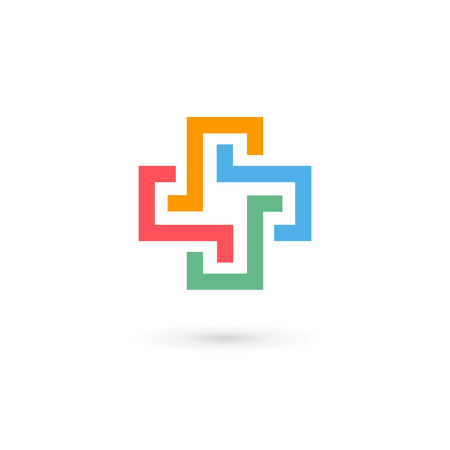Cross plus medical   icon design template elements Ilustracja