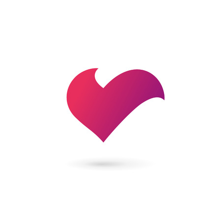 v shape: Letter V heart symbol icon design template elements Illustration