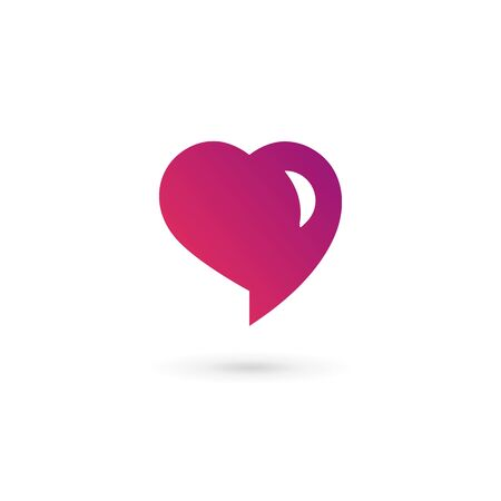 speech icon: Heart symbol speech bubble icon design template. May be used in medical, dating, Valentines Day and wedding design.