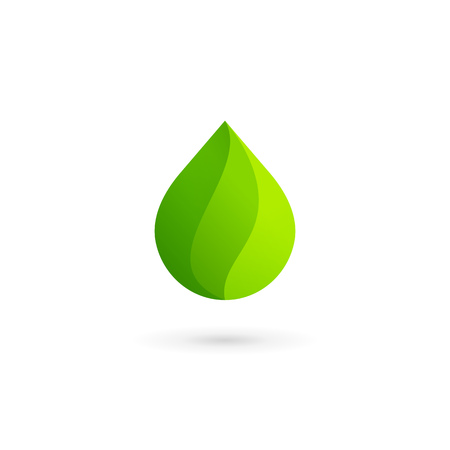 gota de agua: Water drop eco leaves icon design template icon. May be used in ecological, medical, chemical, food and oil design. Vectores