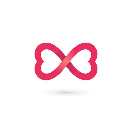 donna farfalla: Cuore infinito elementi del modello anello farfalla icona del design Vettoriali