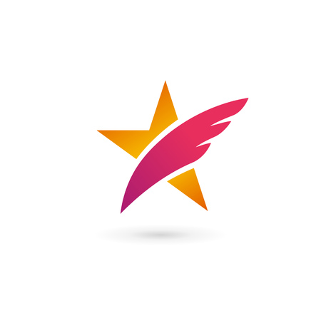 star icon: Abstract star wing icon design template elements