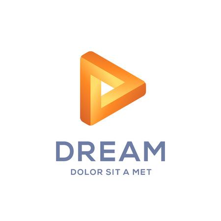 d: Letter D arrow  icon design template elements
