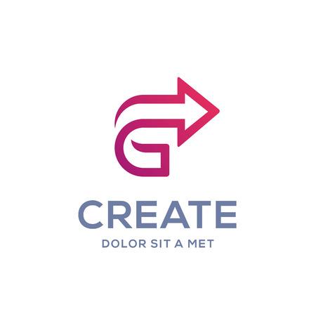 letter c: Letter C arrow icon design template elements
