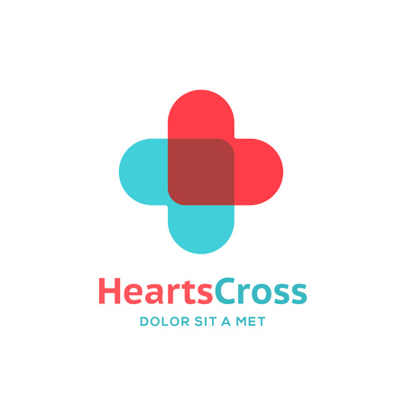 medical cross symbol: Cross plus heart medical logo icon design template elements