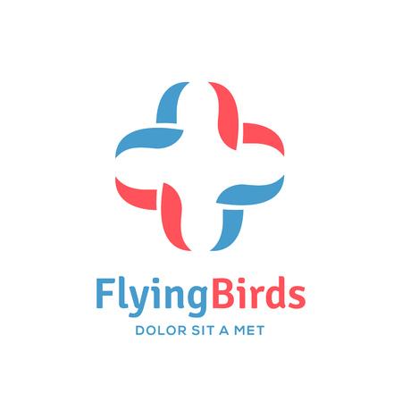 鳥医療のロゴ アイコン デザイン テンプレート要素プラス クロスします。