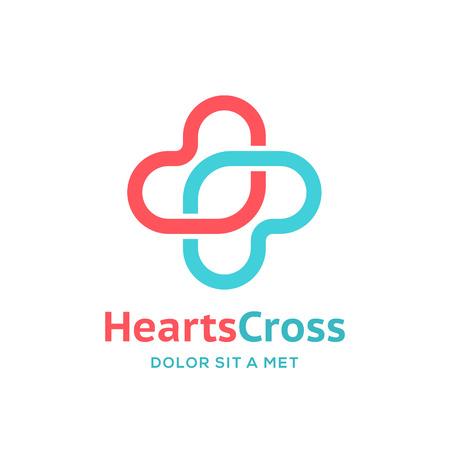 Cross plus heart medical logo icon design template elements