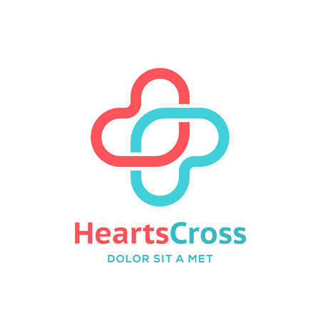 medical care: Cross plus heart medical logo icon design template elements