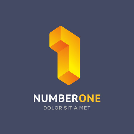 number icon: Number one 1 logo icon design template elements Illustration