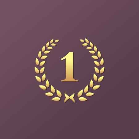 numero uno: Número uno 1 laurel elementos de plantilla logotipo de corona de icono del diseño Vectores