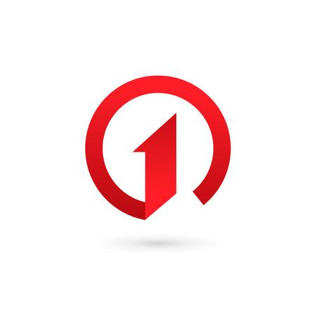uno: Número uno 1 logo elementos de plantilla icono del diseño