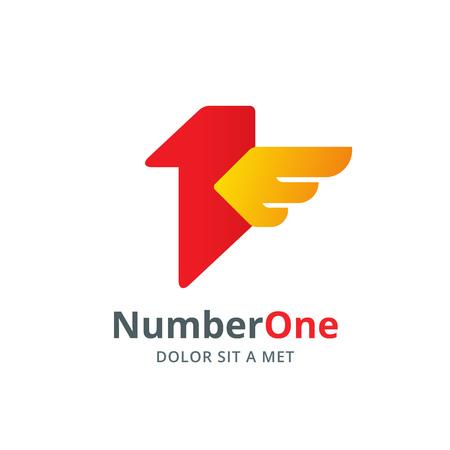 numero uno: N�mero de elementos de plantilla logotipo ala icono del dise�o de un p�jaro 1