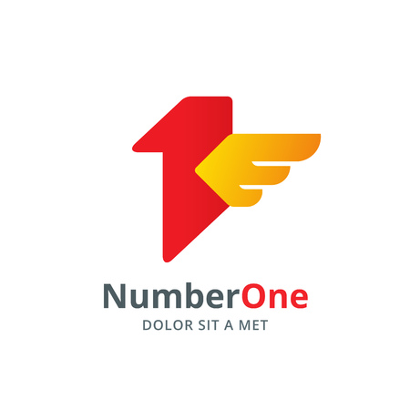 one by one: Number one 1 bird wing logo icon design template elements