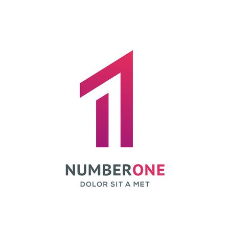 Number one 1 logo icon design template elements Illustration