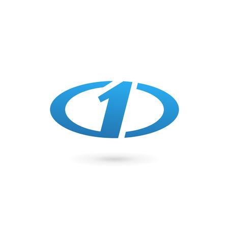 1: Number one 1 logo icon design template elements Illustration
