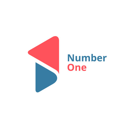 one to one: Number one 1 logo icon design template elements Illustration