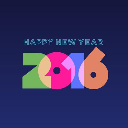 Happy new year 2016 greeting card design 일러스트