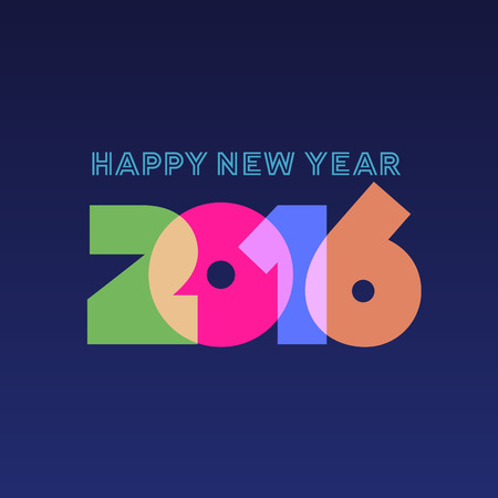 Happy new year 2016 greeting card design Illustration