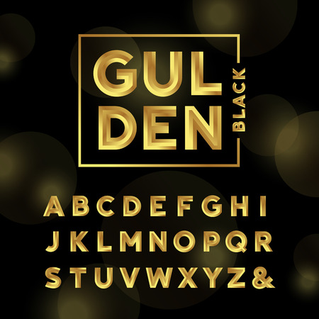 Golden font. Vector alphabet with gold effect letters. Vettoriali