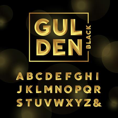Or police. Vector alphabet avec des lettres de l'effet de l'or. Banque d'images - 48419756