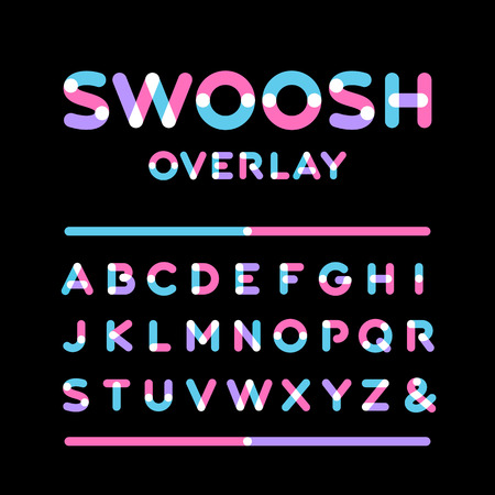 Rounded font. Vector alphabet with overlay effect letters. Vettoriali