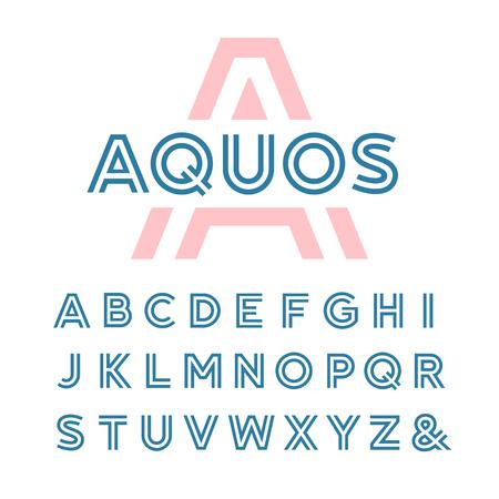 線形のフォントです。ラテン文字のアルファベットでベクトル。  イラスト・ベクター素材