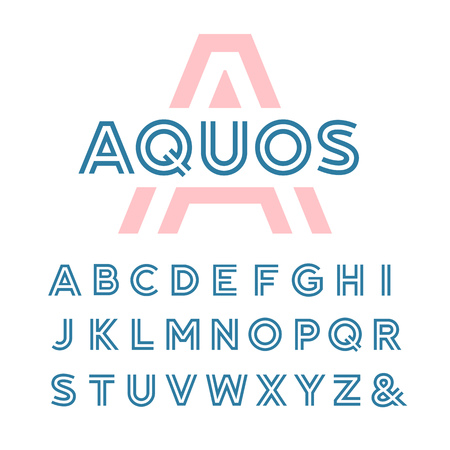 Linear font. Vector alphabet with latin letters.