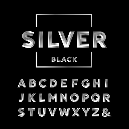 Silver font. Vector alphabet with chrome effect letters.