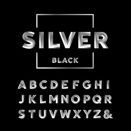 cromo: la fuente de plata. El alfabeto del efecto de cromo con letras. Vectores