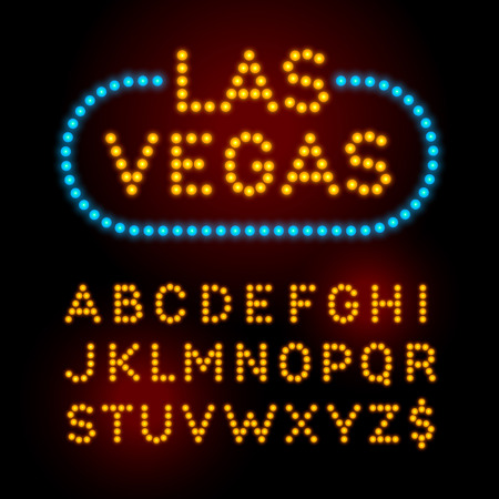 Light bulb font. Vector alphabet with casino effect letters.