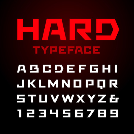 Hard font. Vector alphabet with latin letters and numbers.