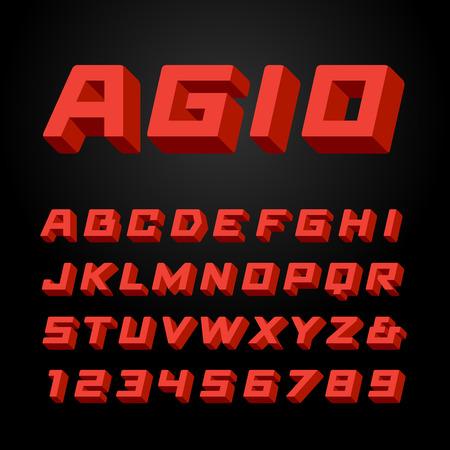 等尺性のフォントです。ベクトル 3 d 効果文字と数字とアルファベット。